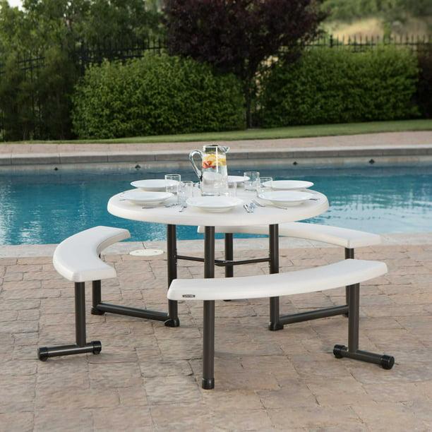 Lifetime Plastic Round Picnic Table Almond 260205 Walmart Com Walmart Com