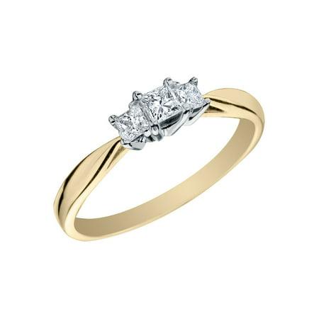 1/4 Carat (ctw H-I, I1-I2) Princess Cut Three Stone Diamond Anniversary Engagement Ring in 14K Yellow Gold (I Carat Diamond Ring)