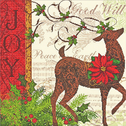 """Dimensions Gold Collection """"Winter Reindeer"""" Counted Cross Stitch Kit, 12"""" x 12"""""""