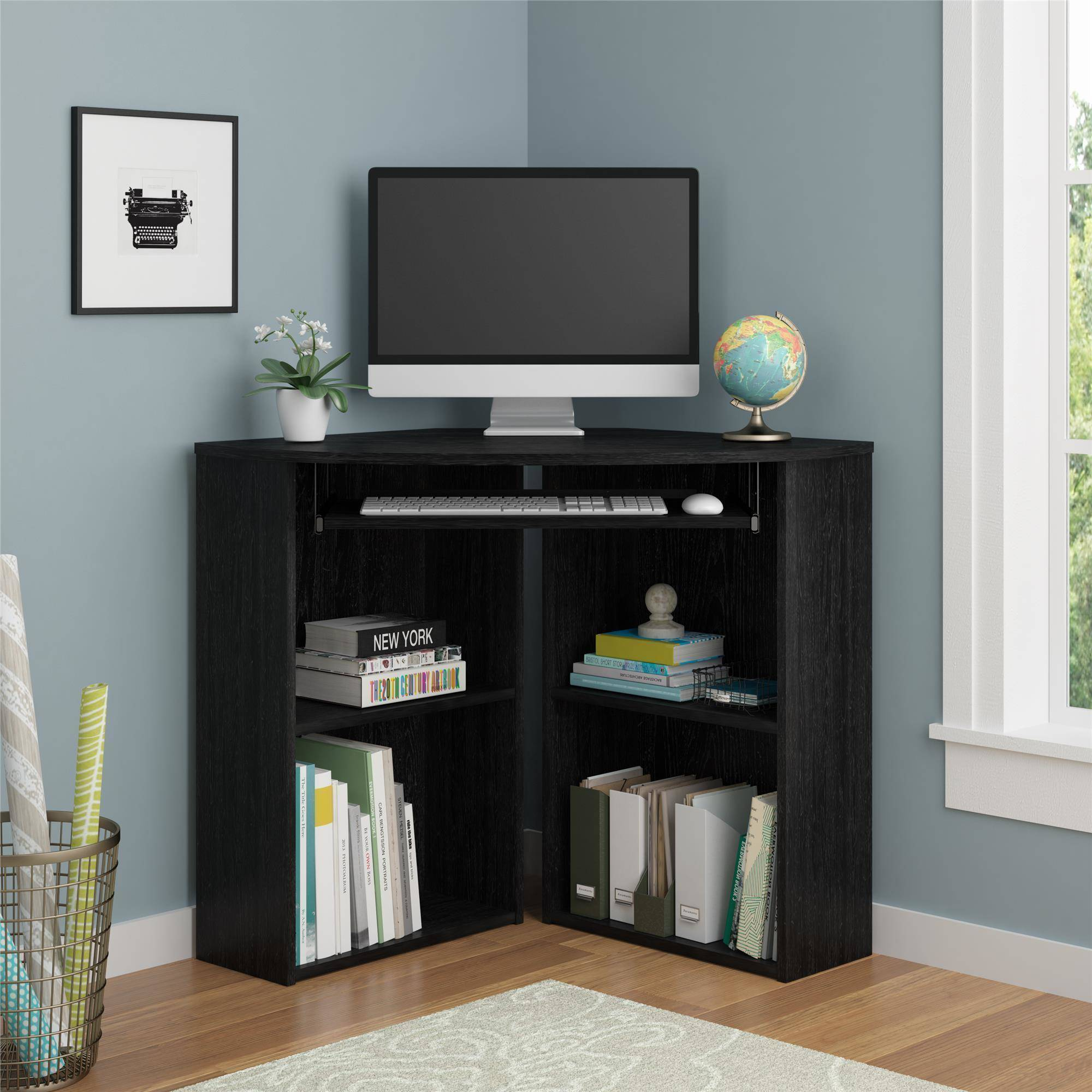 Mainstays Corner Desk With Keyboard Tray And Shelves