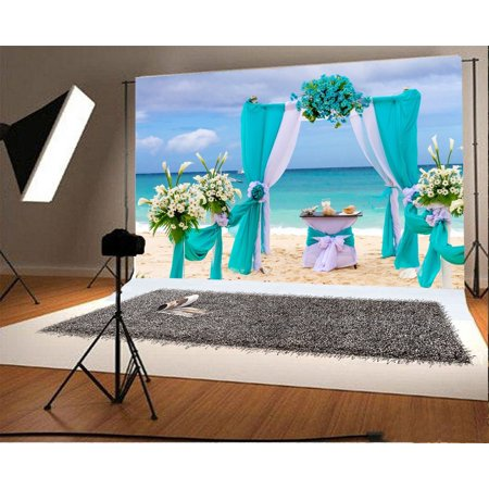 GreenDecor Polyster 7x5ft Photography Background Seaside Beach Romantic Wedding Bouquet Party Ceremony Bride Lovers Girls Photo Backdrops Portraits Shooting Video Studio Props (Beach Party Backdrop)