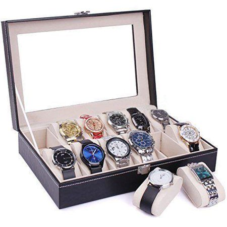 Ktaxon Portable 12 Slots Watch Box Top Jewelry Storage Display Case Black ()