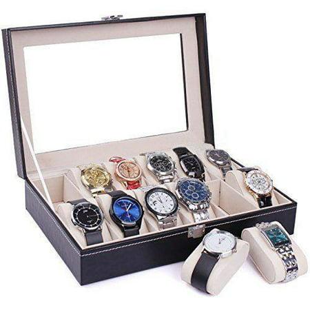 Ktaxon Portable 12 Slots Watch Box Top Jewelry Storage Display Case (Open Watch Case)