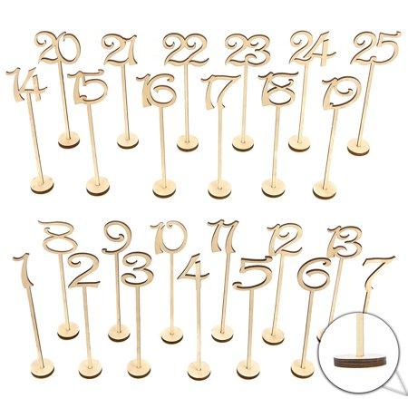 Wooden Wedding Table Numbers 1-25 Pack THICK HEAVY DUTY Vintage Home Birthday Party Event Banquet Decor Anniversary Decoration Favors Signs Natural Color Set Stands With Base Holder Catering Reception (Table Number Ideas)