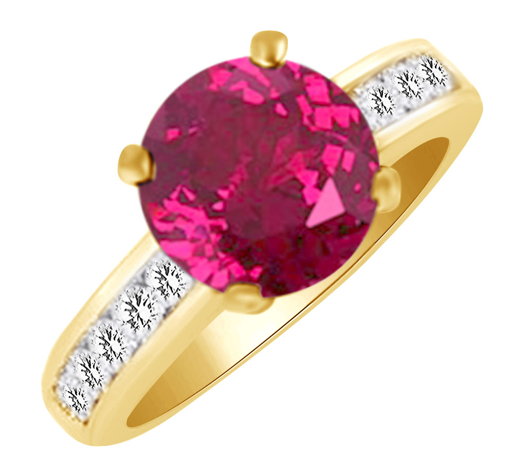 (4.25 cttw) Simulated Pink Sapphire & White Natural Diamond Engagement Wedding Ring In 14k Yellow Gold With Ring Size 4 by Jewel Zone US