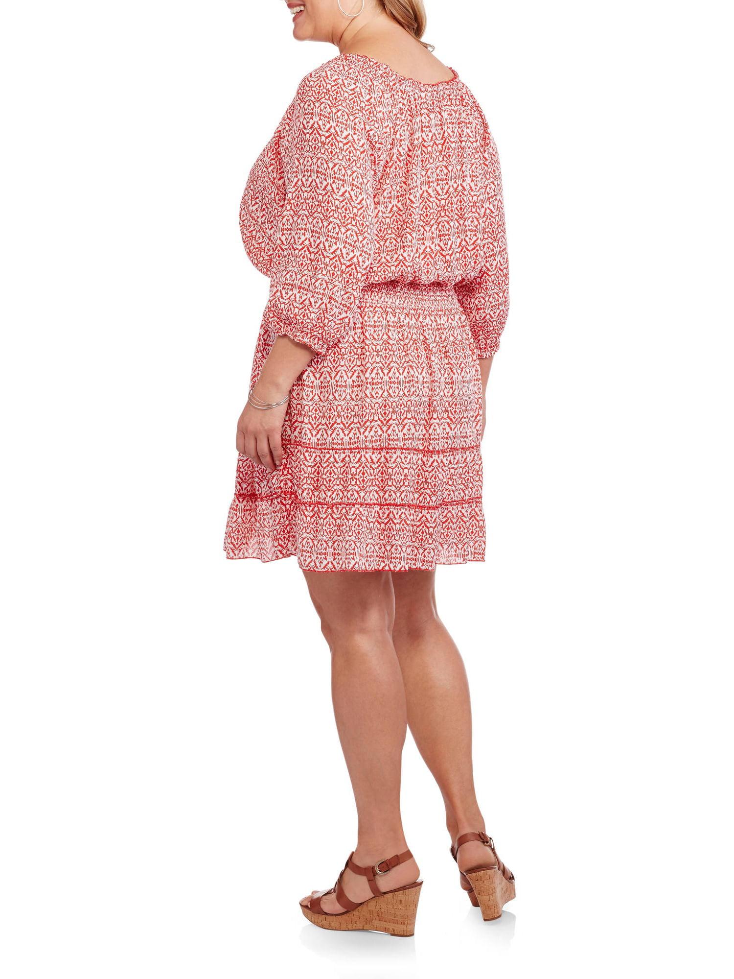 Derek Heart - Women\'s Plus Peasant Dress with Tassel - Walmart.com