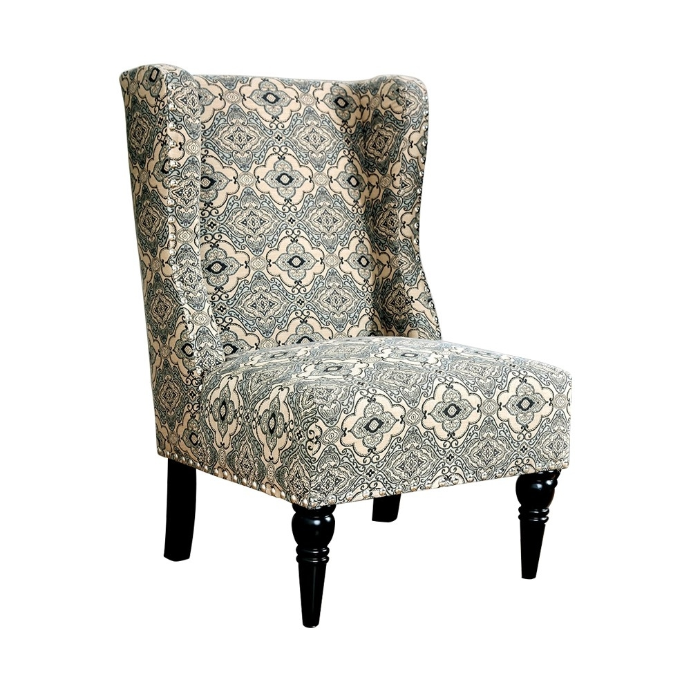 Patterned Fabric Upholstered Accent Chair With Wingback Design, Beige And Blue