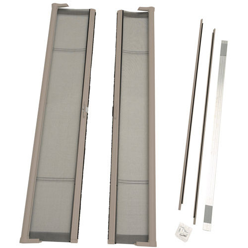"ODL Brisa Short Double Door Single Pack Retractable Screen for 78"" In-Swing or Out-Swing Doors, Sandstone"