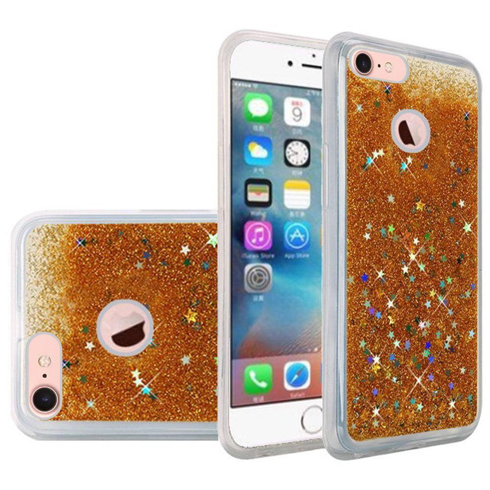 iPhone 7 Case, Premium Luxury Glitter Sparkle Bling Hybrid Quicksand Designer Case [Slim Fit, TPU Back Cover] Shining Fashion Style for Apple iPhone 7 - Gold, TPU, Designer, Party Case, Bumper Grip