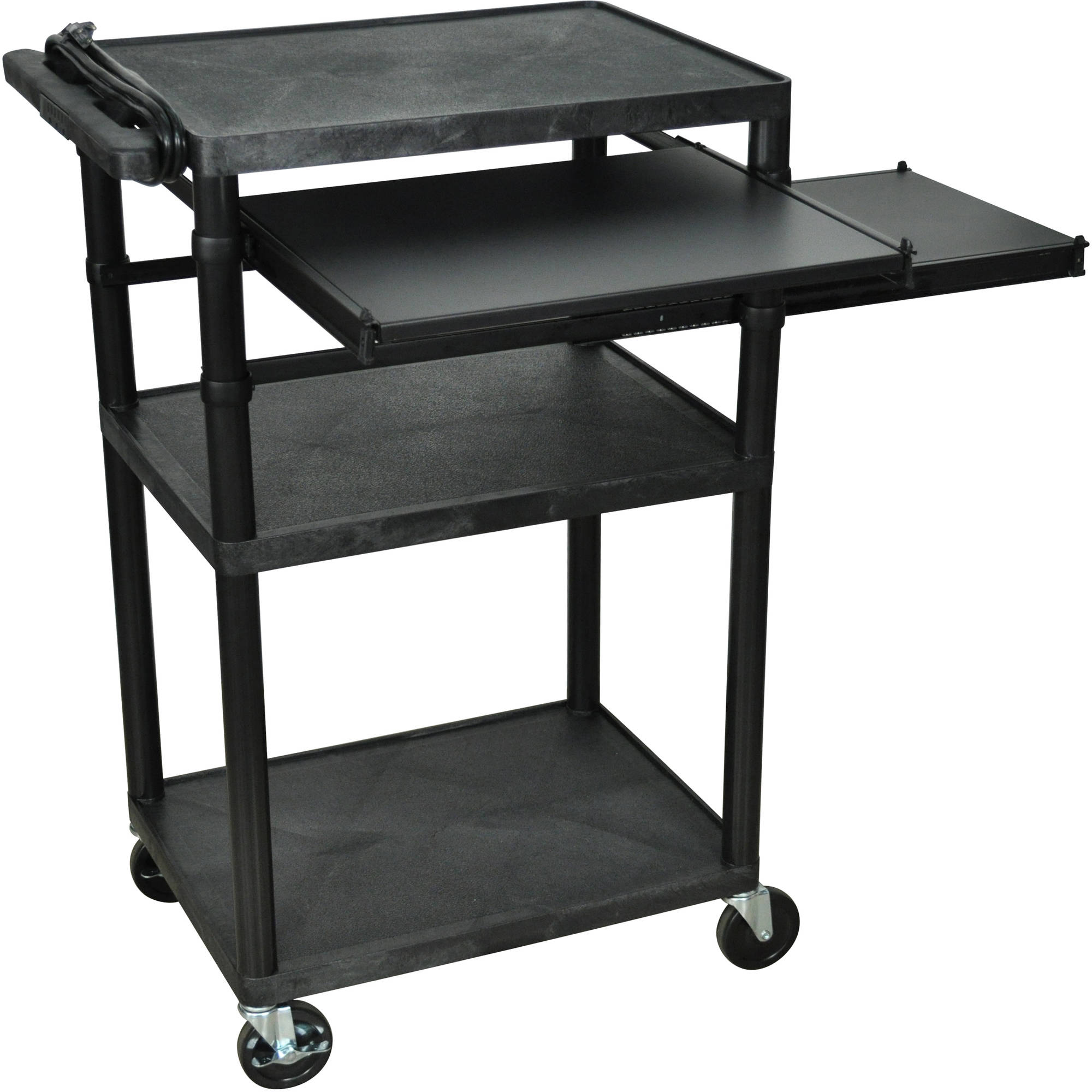 Luxor 3-Shelf A/V Cart with Electric and Pullout Shelves, Black