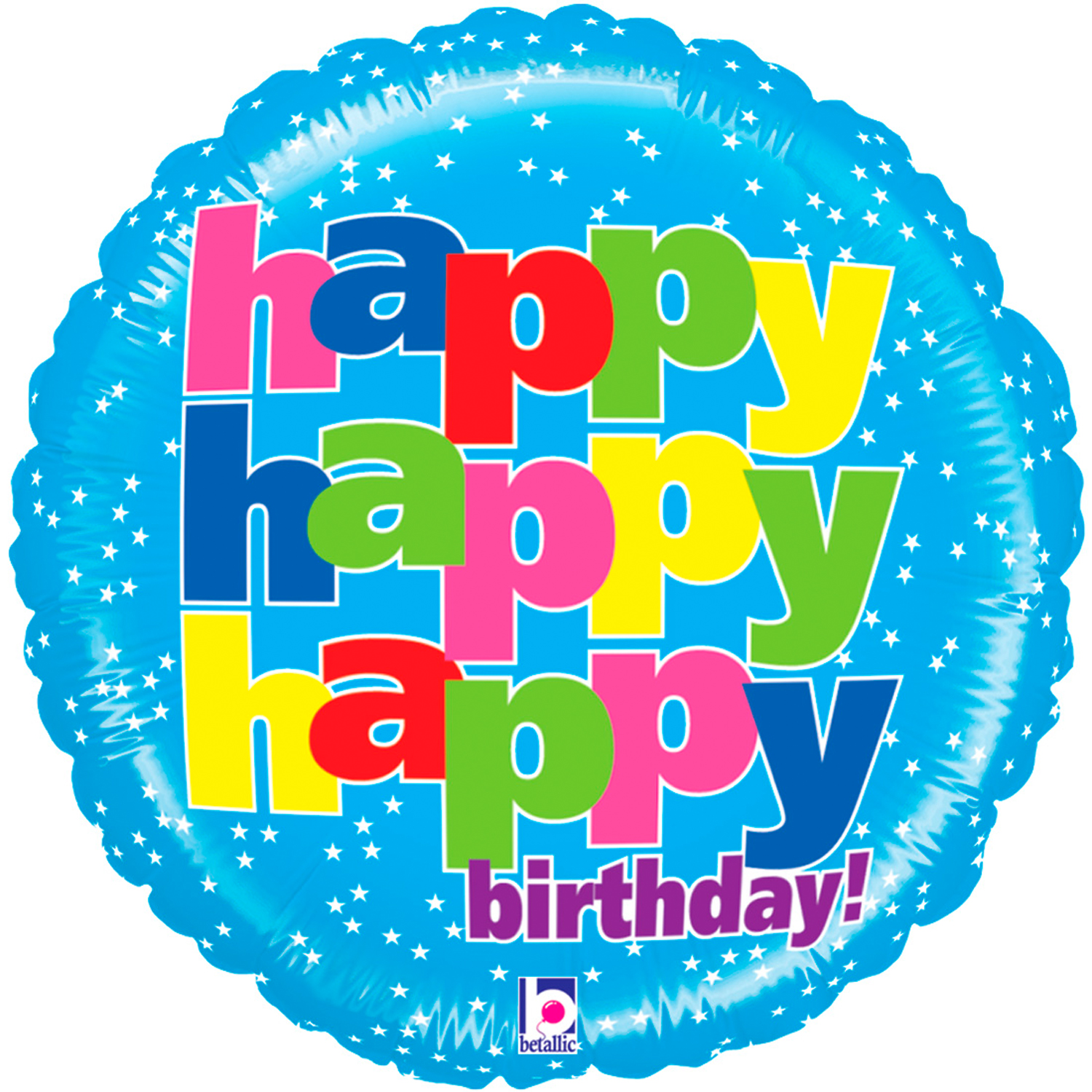 "Betallic Mighty Bright Happy Happy Happy 21"" Non-Foil Balloon, Blue by Betallic"