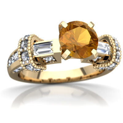 Citrine Antique Style Ring in 14K Yellow Gold by