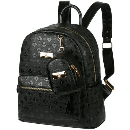 Vbiger 2 in 1 PU Leather Backpack Trendy Travel Backpack Chic Outdoor Daypack Casual School Backpacks for Women Rivets Decoration, Black - Clearance Backpacks For School