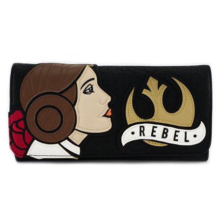 Loungefly Star Wars Rebel Princess Leia Carrie Fisher Tattoo Vegan Black Wallet