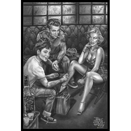James Danger Harvey - Audrey Hepburn Marilyn Monroe and Dean Poster Poster Print