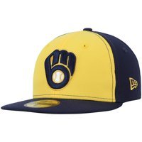 Milwaukee Brewers New Era Youth Authentic Collection On Field 59FIFTY Fitted Hat - Gold/Navy