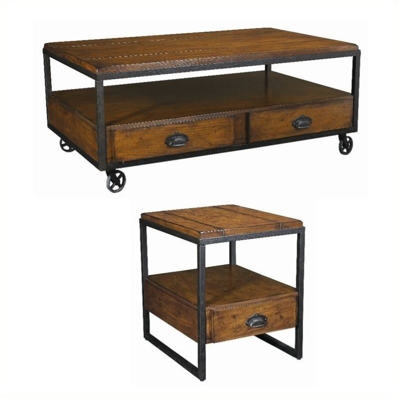 Hammary Baja 2 Piece Occasional Table Set In Vintage Umber