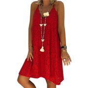 Plus Size Women Sleeveless Lace Mini Dress V Neck Strappy Summer Party