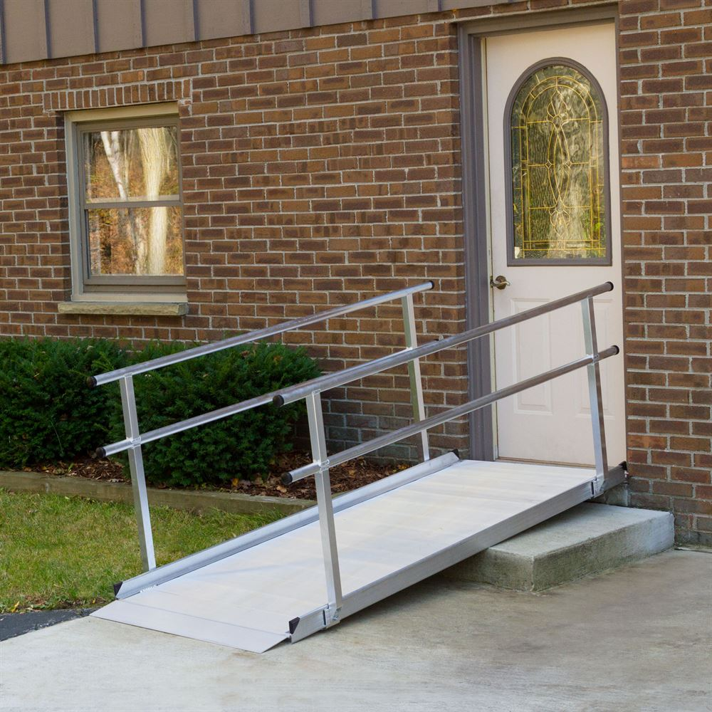 Silver Spring Aluminum Wheelchair Access Ramp with Handrails - 6' L