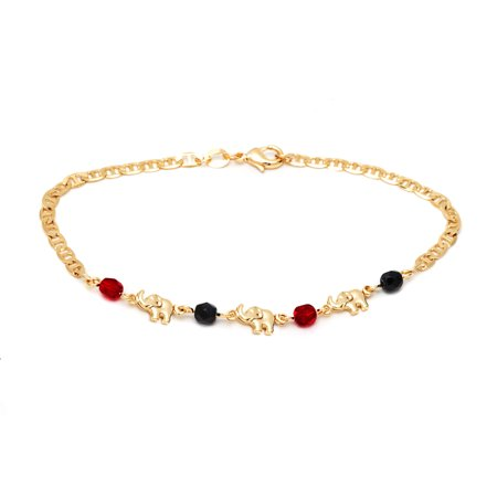 18k Gold Plated Elephant Chain Anklet with Red and Black Crystals - Gold Marine Anklet