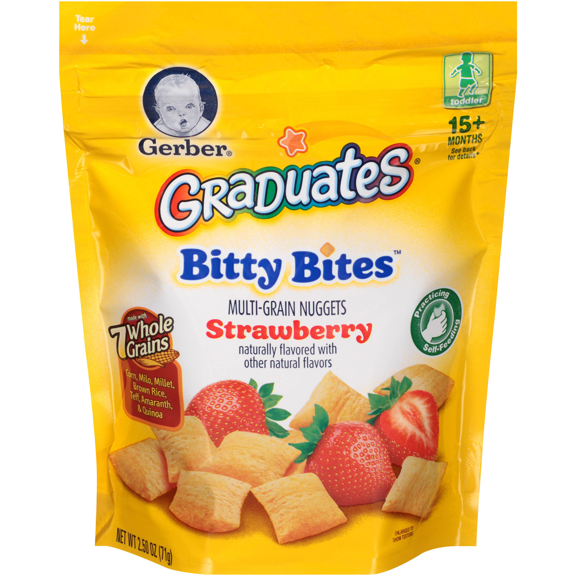 Gerber Graduates Bitty Bites Multi-Grain Nuggets Strawberry, Naturally Flavored with Other Natural Flavors, 2.50 Ounce Bag