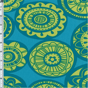 Aqua Blue Circular Floral Print Decor Cotton Twill, Fabric By the Yard
