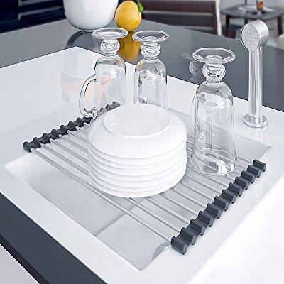 ... Kitchen Dish Drying Rack Over The Sink Drainer Sink Caddy   Dish Rack  Sink Rack Roll