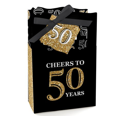 Adult 50th Birthday - Gold - Birthday Party Favor Boxes - Set of 12](Gold Party Boxes)