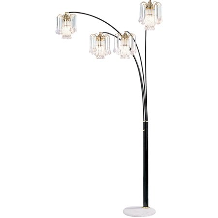 Ok Lighting Black 4 Arch Floor Lamp With Crystal Shade