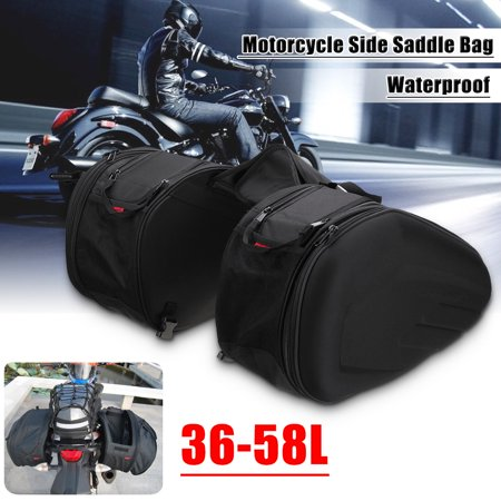 2x 58L Multi-use Expandable Motorcycle Side Saddle Luggage Bag Helmet Waterproof