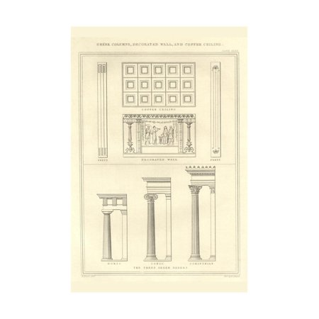 Plastic Greek Columns (Greek Columns, Decorated Walls and Coffer Ceilings Print Wall Art By Richard)