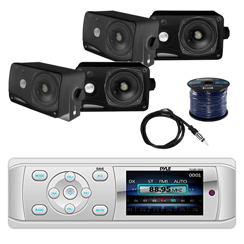 "New 2 Pyle 3.5/"" 200W 3-Way Weather Proof Mini Box Outdoor//Marine Speakers Black"