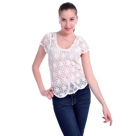 Scalloped Embroidered Garter (S/M Fit Beige Scallop Edge All Over Star Pattern Embroidered Lace Top )