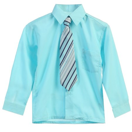 Aqua Dress Shirts (Boys Aqua Stripe Tie Long Sleeve Button Special Occasion Dress Shirt)