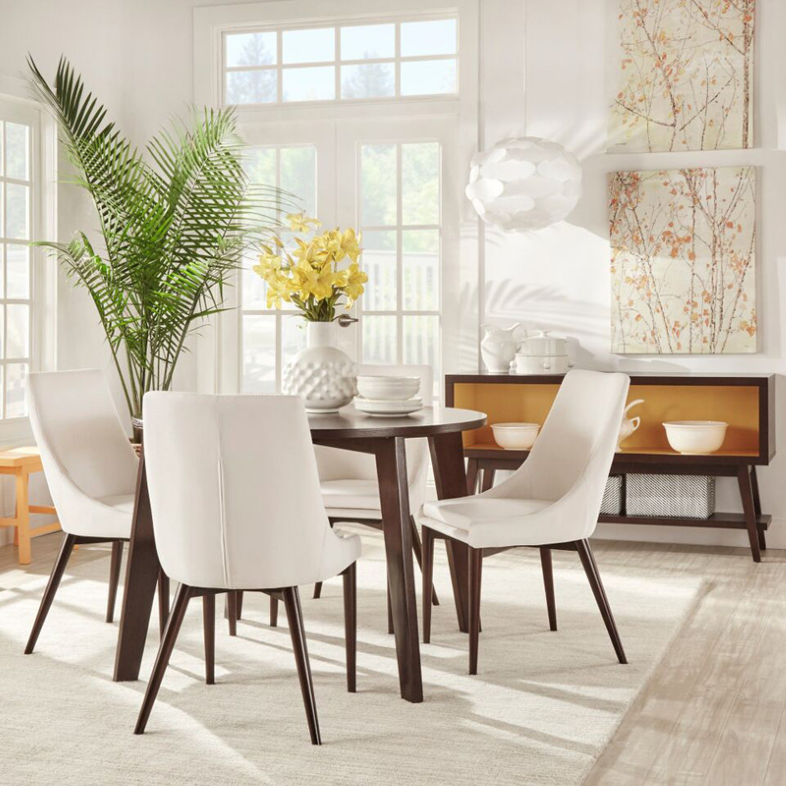 Chelsea Lane Baxter 5-Piece Dining Set, 1 Table, 4 Gray Chairs