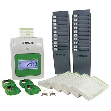upunch ub1000 electronic punch card time clock bundle gray refurbished - Upunch Time Cards