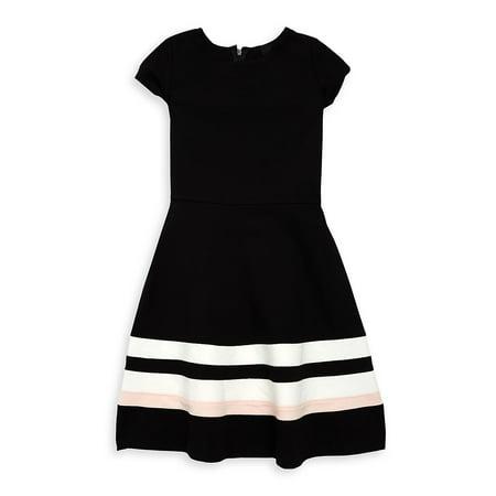 Girl's Cap-Sleeve Stripe Flare Dress