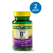 (2 Pack) Spring Valley Vitamin B12 Quick Dissolve Tablets, 5000 mcg, 60 Ct