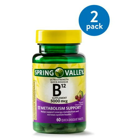 (2 Pack) Spring Valley Vitamin B12 Quick Dissolve Tablets, 5000 mcg, 60 Ct (Spring Valley B Vitamin)