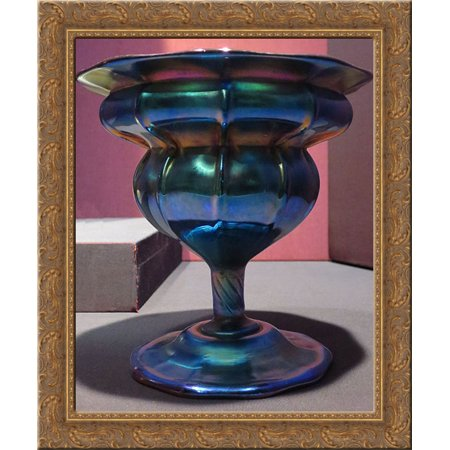 Compote, purple to blue iridescent glass 24x20 Gold Ornate Wood Framed Canvas Art by Louis Comfort Tiffany ()