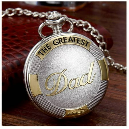 Dad Pocket Watch Gold and Silver Color Tarnish Resistant with Belt Chain Fathers Watch PW-DAD-3 Chain Set Pocket Watch