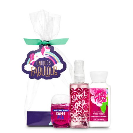 Bath and Body Works SWEET PEA Unique & Fabulous Mini Gift Set Super Smooth Body Lotion (3 fl oz) & a PocketBac Hand Sanitizer (1 fl oz) - Bath And Body Works Halloween Pocketbacs
