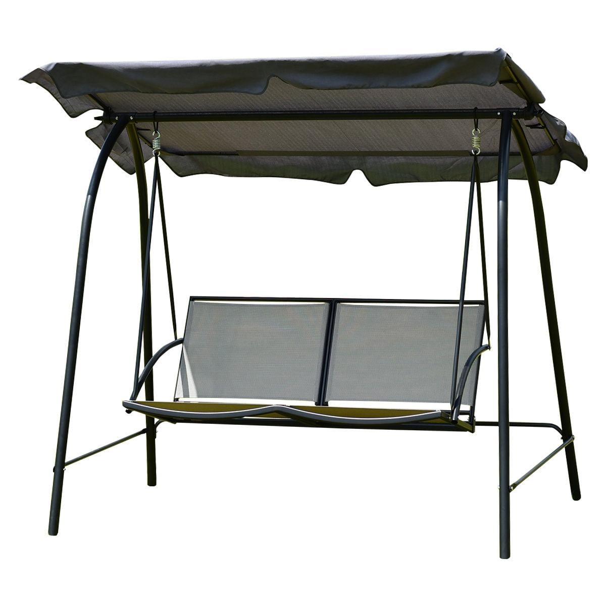 Gymax Patio Loveseat Canopy Swing Glider Hammock Cushioned Steel