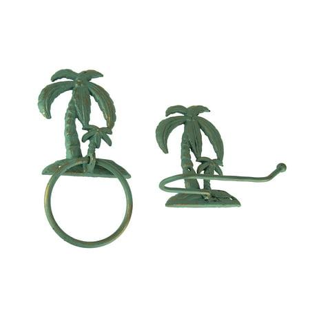 Verdigris Patina Cast Iron Palm Tree Towel Ring and Holder Set - image 1 of 3