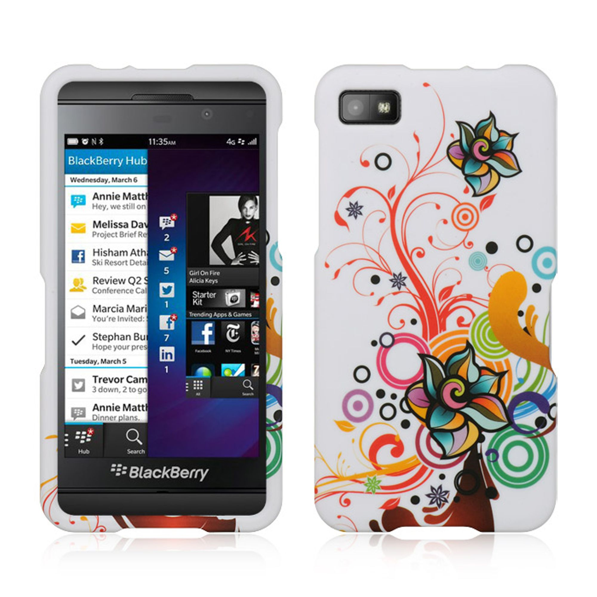 Insten Hard Rubber Case For BlackBerry Z10 - Colorful