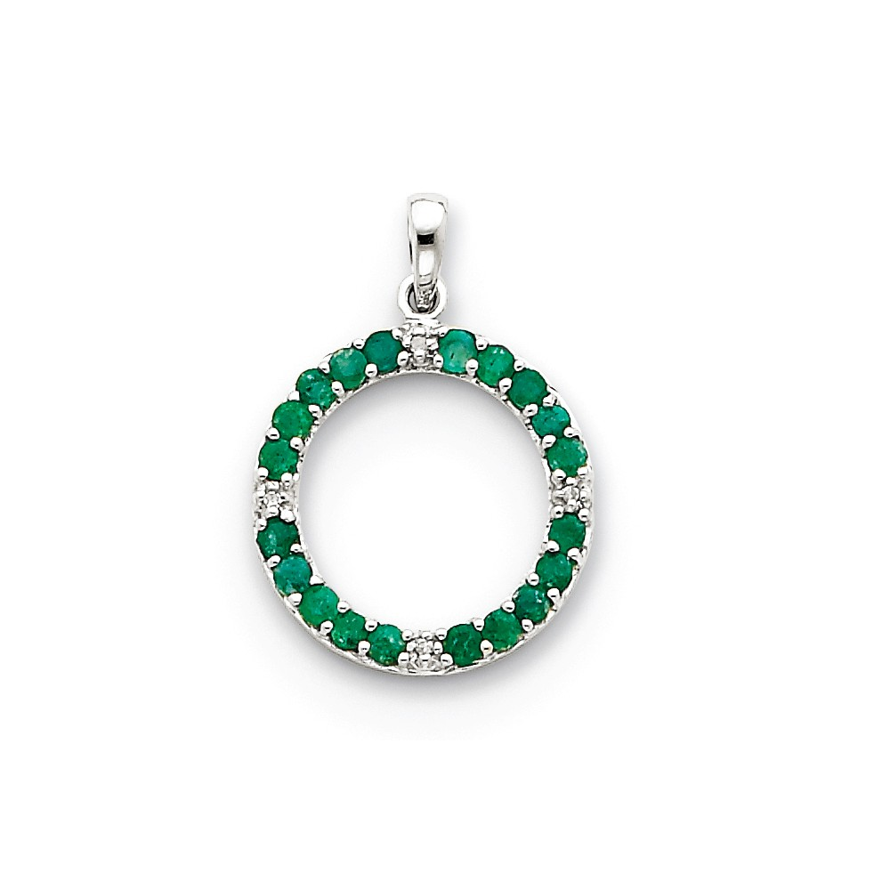 14k White Gold Emerald & Diamond Circle Pendant. Gem Wt- 0.7ct