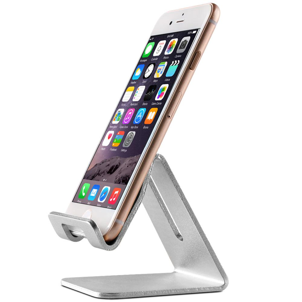 Topeakmart Desktop Cell Phone Stand Tablet Stand,  Aluminum Stand Holder for Mobile Phone (All Size) and Tablet, Silver