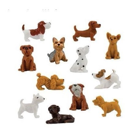 24 pieces (two complete sets of 12) - adopt a puppy figures dachshund basset hound dog bull terrier jack russell dalmatian black lIrador yorkshire boxer bloodhound bulldog poodle toy chihuahua