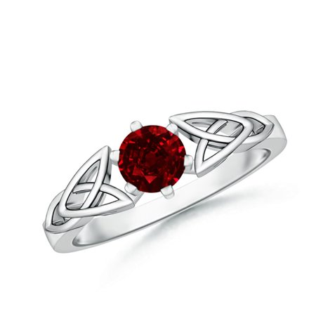 1b518ce1c4b July Birthstone Ring - Solitaire Round Ruby Celtic Knot Ring in 14K White  Gold (5mm Ruby) - SR0652R-WG-AAAA-5-12.5