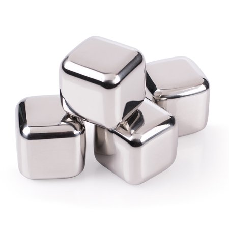 Stainless Steel Ice Cubes with Tray - Set of 4